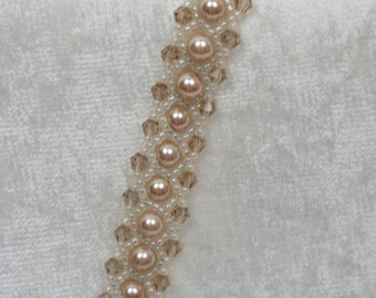 Latte Pearl and Crystal Bracelet
