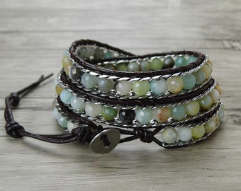 Agate wrap bracelet amazonite stone beads bracelet Boho wrap bracelet chain bead bracele Leather wrap bracelet weaving braceletSL-0385