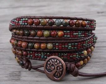Leather Wrap Bracelet Picasso jasper Bead wrap bracelet Yoga Seed beads bracelet Red Bead Bracelet BOHO Gemstone bracelet Jewelry SL-0536