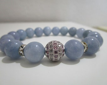 Aquamarine Bracelet Blue Bracelet  Bead Jewelry Women Beaded Bracelet Natural stones bracelet Gift for women March Birthstone Aquamarine