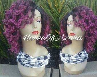 READY TO SHIP: Ombre 1B/Purple Human Hair Blend Upart Wig