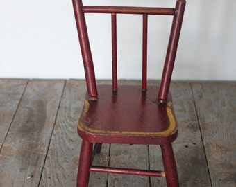 Antique Doll Chair, Red and Gold Colored Doll Chair, Wooden Doll Chair, Antique Toy, Antique Chair, Red Chair, Wood Doll Chair, Vintage Toy