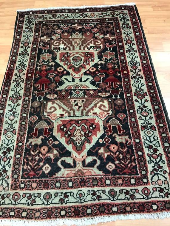 "2'2"" x 3'6""Persian Saraband Oriental Rug - 1950s - Hand Made - 100% Wool"