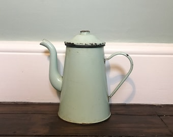 French Vintage Enamel Peppermint Green Coffee Pot