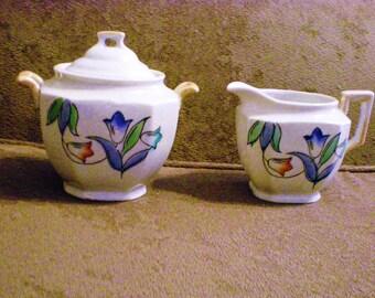Vintage Tulip Lusterware Cream & Sugar Japan