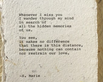 Long distance poetry gift LDR, Long distance relationship, Love poem~Miss You gift Original poem typed military couple gift ready to frame