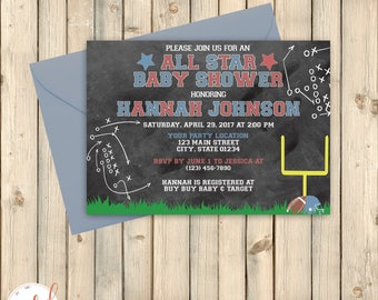 Vintage Football Baby Shower Invitation, Sports Theme Shower, Pink or Blue, Quarterback or Cheerleader, Scoreboard, Playbook X O, DIGITAL