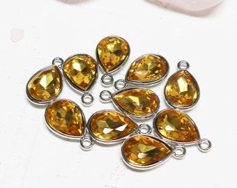 set of 2, November birthstone charm, citrine crystal charm, glass charm, teardrop charm, faceted teardrop, 20mm x 12mm