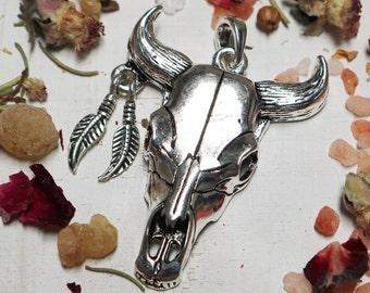 boho pendant, cow bone pendant, feather pendant, hippie pendant, horn pendant, antique silver, 56mm x 40mm