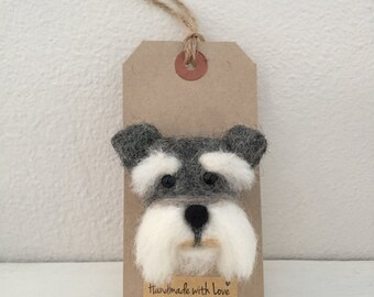 Schnauzer Brooch, Handmade puppy dog Unique Pin Accessory, animal lover gift