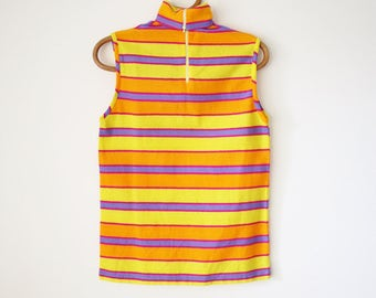 70s Neon Striped Sleeveless Turtleneck Top, Vintage 1970s summer knit sweater, Small 3775