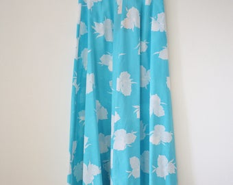 Vintage Floral Skirt, Aqua blue White floral High waist 70s Summer skirt, XS 3813
