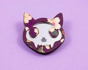 Cat Skull Mirror Brooch - Purple