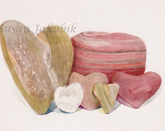 Heart Shaped Rocks Watercolor, Heart Still Life, Archival Print of Original Watercolor
