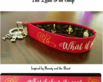 Embroidered Beauty and the Beast Inspired Key Fob/Wristlet with Charms - What if She is the One?