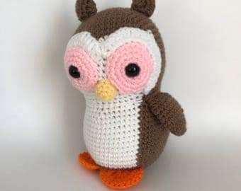 Owl, Barn owl, crochet owl, amigurumi owl, cute owl, plushie owl, ready to ship, toy owl, children's stuffed toy, cuddly owl