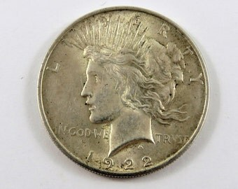 U.S. 1922 Peace Dollar Coin.