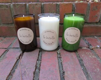 16 oz Upcycled Glass Bottle Soy Candle by La Botella