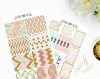 Glittery Blush Planner Sticker Kit, for use with Erin Condren, Life Planner, Happy Planner, Mambi