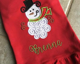 Christmas Girly Snowman Applique Shirt or Onesie