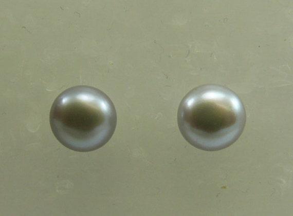 Freshwater Gray 9.4mm Button Shape Pearl Earring 14k White Gold Post & Push Back