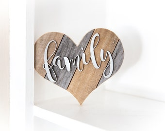 Rustic Home Decor | Family Sign | Wood Heart | Silver Wall Decor | Rustic Wall Decor | Kitchen Decor | Rustic Kitchen Decor | Gallery Wall