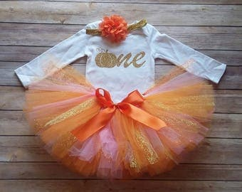 Fall 1st Birthday Girl Outfit, Pink, CUSTOMIZABLE Outfit, Girls First Birthday Outfit, Pumpkin, Cake Smash, Photo Prop, Personalized Tutu