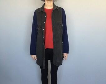 Vintage 90's Corduroy Buttoned Sleeveless Grey Dress