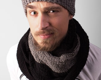 Knit Beanie with Scarf mens knit hat knitted beanie, skull hat men's skull hat