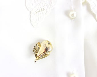French Vintage Pear Brooch / Gold & rhinestones Retro 1960s Fruit Costume Jewellery 80's 60's