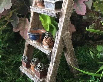 Miniature Step Ladder with Plant Pots
