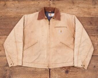 "Mens Vintage Carhartt Blanket Lined Workwear Chore Jacket Beige L 44"" R5494"