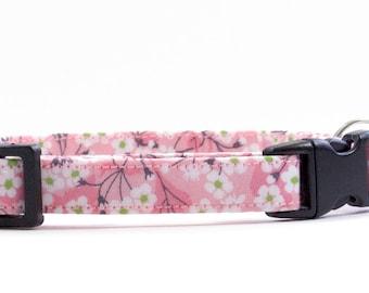 Handmade cat collar made using Liberty Mitsi Valeria, Pink fabric. Silver bell and breakaway buckle. Kitten Collar.