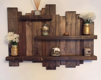 Floating, distressed shelves, wall mounted shelf, rustic shelf, home decor, solid wooden shelf
