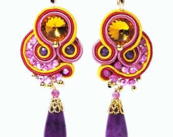 Purple Pink Yellow Soutache Gold Earrings