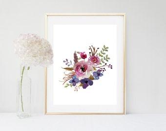 Printable Women Gift, Watercolor, Flower Print, Printable Art, Floral Art Print, Botanical Print ,  Instant Download, Flower Wall Art