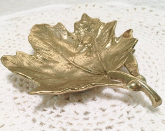 Vintage Virginia Metalcrafters Brass Sugar Maple Leaf Dish - Shallow Bowl - Copyright 1950