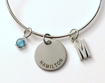 Hamilton Charm Bracelet, Gift for Teenage Girl, Jewelry Bangle The Musical Theatre Theater Silver initial birthstone Daughter Teen woman