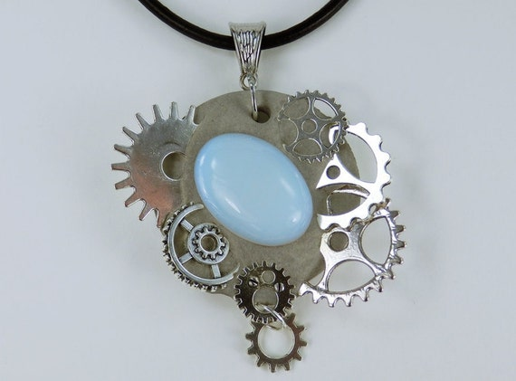 Necklace Glamour Steampunk White moonstone concrete jewelry on black leather strap silver wheels unique Concrete Jewelry gemstone