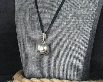 Vintage, Sterling Silver, Harmony, Bell, Ball, Pendant, Charm, 925, Silver, Mexico, Chime, Meditation