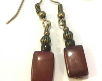 Red jasper stone earrings, Burgundy earrings