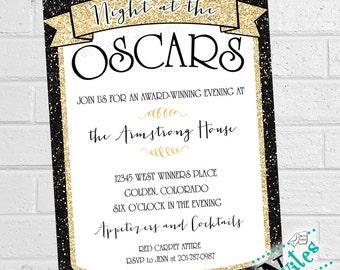 Oscar Party Einladung, Academy Award Party Einladen, Film Party Einladungen,