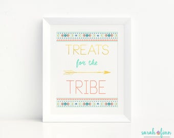 Treats for the Tribe, Wild One Birthday, Tribal Party Sign, Boho, Party Decor, Arrows, First Birthday, Gold, Wild One Party, Printable, Art