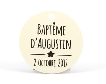 """10 round 34 mm in diameter, ground """"Star"""" personalized labels for your wedding or baptism dragees"""