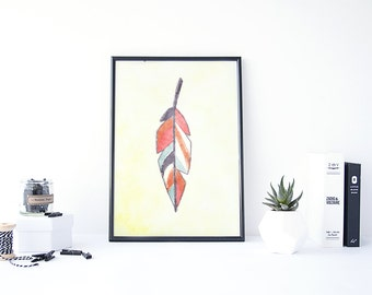 Feather Wall Decor, Feather Watercolor, Aztec Art, Feather Painting, Aztec Painting, Watercolor Feather Print, Aztec Decor, Digital Wall Art