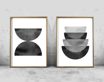 Black and White Abstract Watercolor Prints Set of Two Geometric Art Prints Minimalist Art Scandinavian Posters Large Prints Digital Download