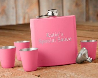 Personalized Pink Flask & Shot Glass Gift Set - Womens Valentines Gifts - Womens Birthday Gifts - Mother's Day Gift - Girl Flask  Pink Flask