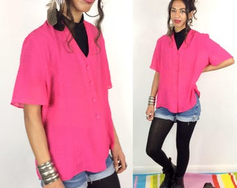 Bright Pink Blouse . Women's 90s Vintage Flamingo Fuchsia Pink Textured Semi Sheer Short Sleeve Shirt Top. Domingo London Oversize UK 18 XL