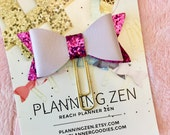 Lavender Bow Planner Clip with Purple Glitter Faux Leather