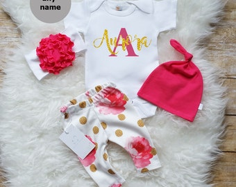 Baby Girl Coming Home Outfit Baby Girl Monogrammed Bodysuit Birthday Girl Outfit Photo Prop Personalized Baby Outfit Floral Girl Outfit